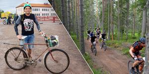 Anders Allard Lindström cyklade cykelvasan på en rostig herrcykel från 1940-talet. Han bor i Ramsnäs utanför Falun och fick idén när han tog cykeln in till Falun för att handla. Fotomontage: Privat/Nisse Schmidt