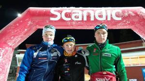 Hugo Jacobsen vann yngsta juniorklassen på herrsidan. Här ser vi Hugo i mitten tillsammans med tvåan och trean.