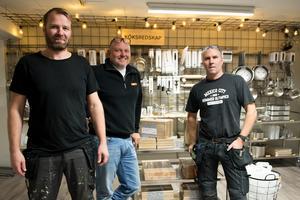 Tomas Grundström, Roger Öberg och Fredrik Forsgren är delägare i nya Kök & Hem.
