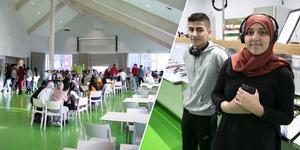 Maserskolans nya matsal har plats för drygt 150 matgäster. Eleverna Lama Elbelbisi och Ali Ivy Jundi gillar stället.
