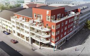 19 lägenheter ska byggas i BRF Årummet i centrala Falun. Lägenheterna började säljas i mitten av november och 70 procent av dem är nu sålda.  Illustration: Mondo Arkitekter