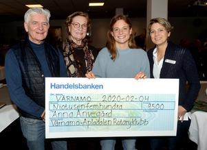 Stipendiaten och fotbollsspelaren från Bredaryd, Anna Anvegård fick motta Värnamo-Apladalen Rotaryklubbs ungdomsstipendium i tisdags. Här flankeras hon av stipendiekommittén, från vänster, Kaj Larsson, Eva Törn, samt Magdalena Johansson.