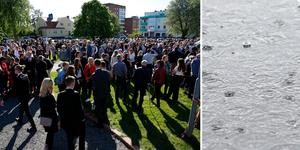 I fredags var det studentbal i Ludvika och då sken solen. När studenterna springer ut på fredag ser det däremot ut att kunna bli regn. Foto: Mikael Hellsten & TT