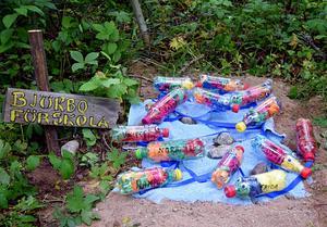 Björbo förskolas damm med charmiga petflaskfiskar.