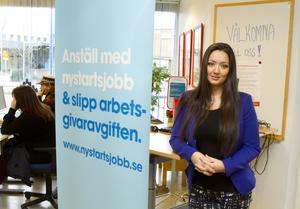 Marija Mihajlovska, chef för arbetsförmedlingens enhet södra Västmanland. Enheten betjänar fem kommuner: Köping, Kungsör, Surahammar, Hallstahammar och Arboga.