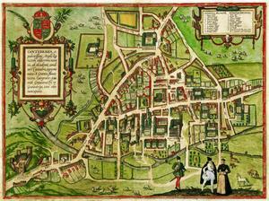 Karta över Cambridge av William Smith and Richard Lyne från 1575.
