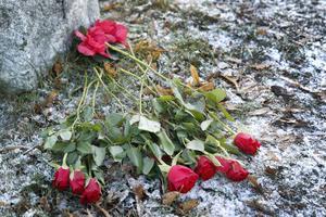 Rosor har lagts vid väg 283 för att hedra de omkomna vid Söderby-Karls kyrka nyligen.