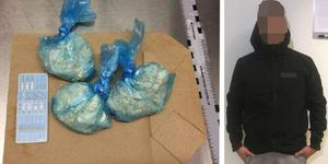 Den 22-årige mannen åtalas för att ha haft stora mängder amfetamin och narkotikaklassade tabletter. Bilder från polisens förundersökning.