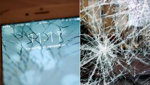 Krossat glas ledde till mobilhot.