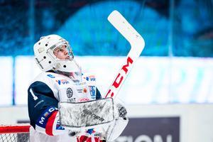 Isak Ragnevad fick ingen rolig start på seniorkarriären. Tre mål insläppta på en period gjorde att han blev utbytt. Foto: Simon Hastegård / Bildbyrån
