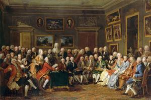 Den lärda klassens salonger höll sig Rétif de la Bretonne ifrån. Målning av  Anicet Charles Gabriel Lemonnier från 1812.