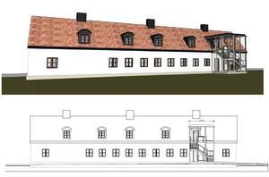 Den förslagna tillbyggnaden är skonsam i jämförelse med att riva invändigt. En enkel anspråkslös geometrisk form tar inte uppmärksamhet från den historiska byggnaden, skriver Mats Wedberg. Illustration: Wedark.