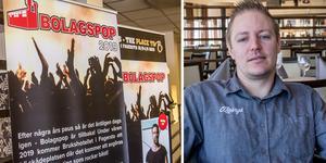 Henrik Pettersson, restaurangchef på Fagersta Brukshotell, hoppas att företag och föreningar ska anmäla sig till Bolagspopen så musiktävlingen blir av.