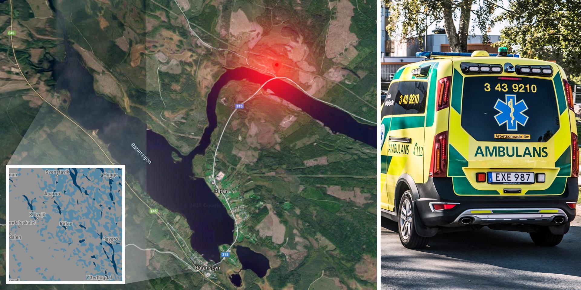 """Trafikolycka utanför Rätan – äldre kvinna allvarligt skadad: """"Bilen är på taket"""""""