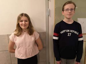 Evelina Jonsson och Alex Nordlander är duon från klass 5a på Bjästaskolan som ska tävla i kvartsfinalen.