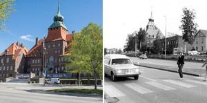 Rådhusgatan 1970-tal till vänster. Arkivbild.