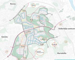 Kartan visar viktiga stråk och mötesplatser som lekparker, förskolor och mataffärer. Skiss: Södertälje kommun