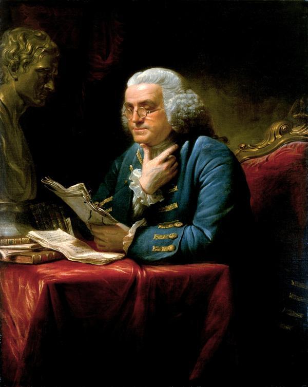 Benjamin Franklin 1767. Målning av  David Martin.