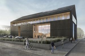 Det ser ut som en gigantisk lada, Hudiksvalls nya tingshus, utifrån modellskissen av arkitekten Tomas Hansen. Frågan är hur skalan stämmer överens med småhusbebyggelsen intill. Foto: Yellon