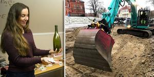 Pernilla Hembjer, Länsmuseet Västernorrland, visar upp några av fynden som hittats vid utgrävningarna vid Bünsowska tjärnen – en champagneflaska  och ostronskal
