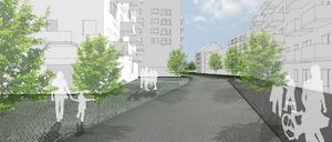 Så här kan det nya torget vid tiovåningshuset till vänster komma att se ut i framtiden. Skiss: Södertälje kommun/Rikshem