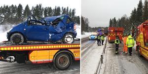 En bil fick sladd i det hala väglaget och körde i diket på riksväg 50 söder om Borlänge. Bilden är ett montage.