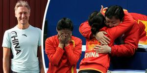 Kinas damer har redan ett VM-guld och ett OS-brons. Peja Lindholms uppgift är nu att föra nationen till nya curlingframgångar i hemma-OS 2022. Foto: Andreas Olsen/AP Photo (Montage)