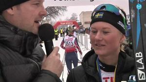 Maja Dahlqvist segerintervjuas.