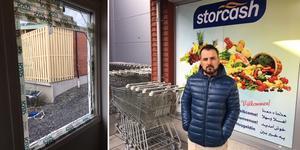 Dilar Ahmed Wahab, butikschef på Storcash, fokuserar på att städa upp i butiken efter inbrottet.