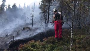 Bekämpning av brand vid Jerkersbodberget.