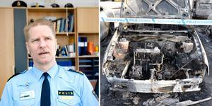 Flera bilar förstördes i en brand i Nacksta under natten mot torsdag. Händelsen, som väckt starka reaktioner bland allmänheten, rubriceras i nuläget som grov skadegörelse. Fotot är ett montage. Bilder: ST