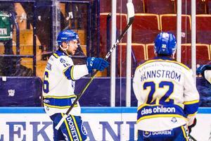 Daniel Gunnarsson firar Leksands 1–1-mål. Foto: Daniel Eriksson/Bildbyrån