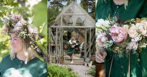 Floristen Linda älskar att binda buketter och kransar. I sitt nya växthus får både hon och växterna mera plats.
