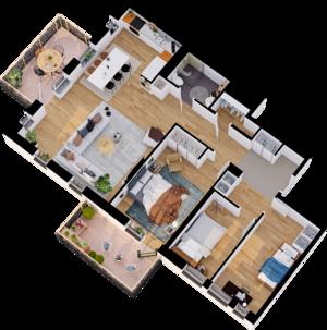Exempel planlösning tre rum och kök med 2 balkonger. Illustration: Telge bostäder