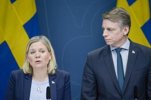 Finansminster Magdalena Andersson och Per Bolund finansmarknadsminister vid ett tidigare tillfälle.