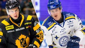 Skellefteås Joakim Lindström och Leksands Sebastian Wännström. Foto: Bildbyrån.