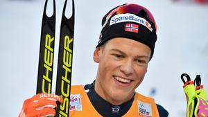 Johannes Hösflot Kläbo visade på nytt att han är årets stora stjärna. Bild: Anders Wiklund/TT.