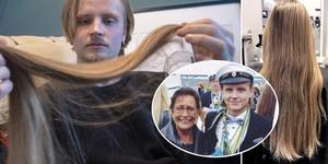 Jonathan Jutbo donerar sitt långa hår till cancersjuka som behöver en peruk.