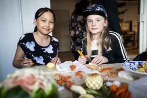 Emelie Emilsson och Meja Wedin från Domsjö var på plats under måndagen för att prova snida.