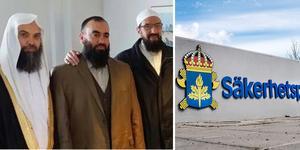 Fekri Hamad är första mannen till vänster, till höger om honom står Abdel Nasser El Nadi, som skötte ansökningen av Nya Kastets skola i Bomhus samt är styrelseledamot i Gävle moské. Till höger om honom står Gävleimamen Abo Raad.