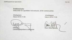 Nya avtalet. Underskrivet av nye landstingsrådet Ulf Berg (M).