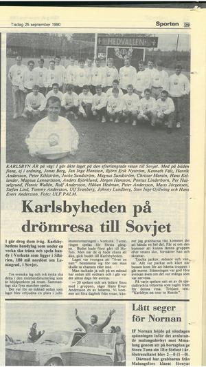 Faksimil från Falu-Kuriren den 25 september 1990. Frågan om resan till Sovjet gick först till Hofors, som tackade nej. På tröjorna stod det
