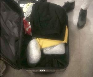 Under kläder i resväskan låg knarket.