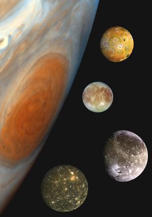 Galileo Galilei upptäckte fyra av Jupiters 79 månar. Foto: NASA