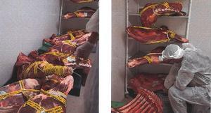 Köttet har täckts av saluförbudstejp. Foto: Borlänge kommun/miljökontoret