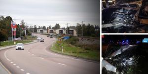 Inga tekniska fel på bilarna har orsakat olyckan på riksväg 90. Fem ungdomar skadades vid olyckan, varav en fick livshotande skador. Foto: Anders Lidén och räddningstjänsten. Montage: Birgitta Strandh.