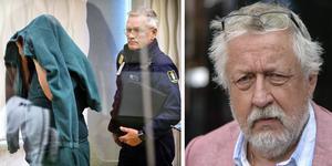 Vänster: den 54-årige mannen förs in i rättssalen i Västmanlands tingsrätt i december i fjol. Till höger: Leif GW Persson.