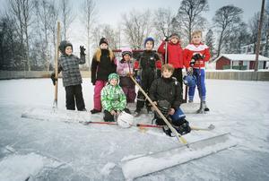 En eftermiddag på isbanan. Glada barn i Segersta.