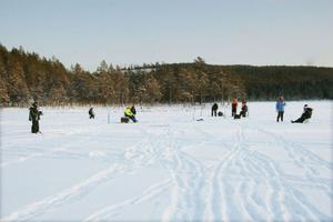 25–30 personer trotsade kylan och besökte Lilla Svartsjön vid isfiskepremiären.