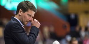 Thomas Paananen var märkbart besviken efter tunga 2-5-förlusten mot Almtuna. Foto: Erik Mårtensson / TT